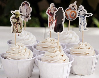 24 Pieces  Star Wars Cupcake Toppers Picks for Birthday Decorations DIY Party Supplies