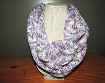 Infinity scarf, Variegated, Purple, white, pink and grays