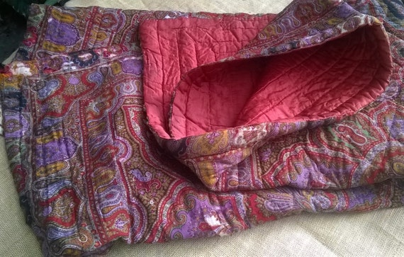1800's Blanket Red Victorian Cashmere and Silk Quilted Blanket Antique French Bedspread Comforter #sophieladydeparis