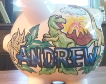 Childrens Handpainted Piggy Bank  Dinosaur Design Ceramic Bank