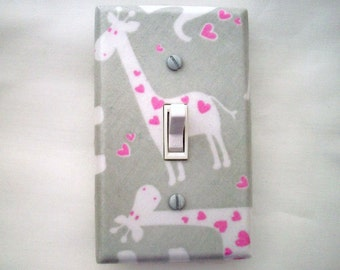Giraffe Light Switch Cover - Grey Pink Switch Plate - Girls Nursery Decor - Pink Grey Nursery - Girls Giraffe Bedroom - Pink Gray Room