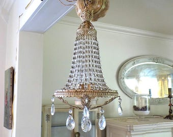 WOW! Antique Victorian MACARONI BEADED Chandelier ~ Vintage Shabby French Cottage Chic ~ Old Hollywood Regency ~ Perfect Smaller Size!