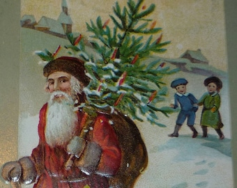 Santa Claus in Red Coat With Chistmas Tree Antique Christmas Postcard