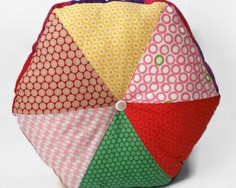 """16"""" Handmade Stuffed Hexagonal Wedge Cushion / For the home / Home Decor / Throw Pillow / Floor Pillow / Modern Pillow"""