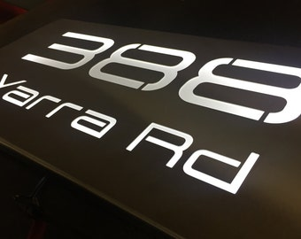 Stainless Steel LED Illuminated House Sign Plaque - Made to Order, Laser Cut