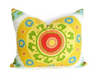 Yellow Suzani Pillows, Boho Chic Cushions, Large Medallion Pillows, Oblong Pillow Covers, Bright Yellow Red Green Blue, 14x20, 16x20, 18, 20