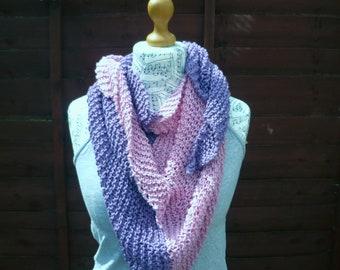Purple Pink Cotton Shawl, Hand Knit OOAK Wrap, Cotton Triangle Wrap, Festival Loose Knit Shawl, Hand Knit Shawlette, ClickClackKnits