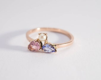 Mini cluster ring with tourmaline, fresh water pearl and tanzanite