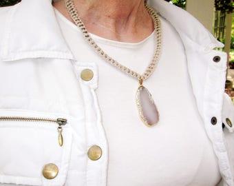 Stone Necklace - Agate Necklace - Healing Stone Jewelry - Boho Necklace - Gemstone Necklace - Hemp Agate Jewelry - Boho Stone Pendant