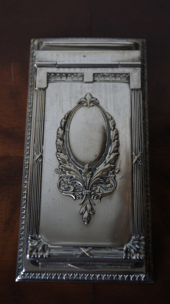 Antique silver plated business card holder timetable notepad