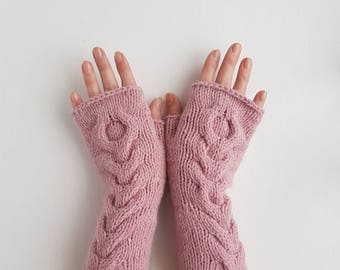Fingerless cable knit gloves, handknit pink handwarmers, knitted wool armwarmers, knit wristmwarmers, womens mitts, winter mittens