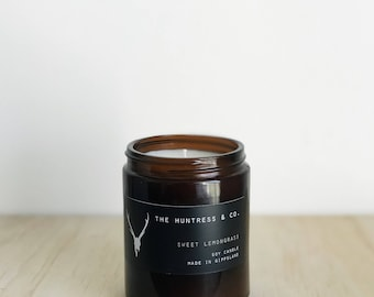 Lemongrass Soy - Soy Candle - Amber Jar - Bohemian - Hand Poured - Small Batch - Soy Wax - Mandle - Citrus