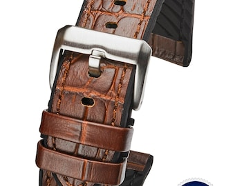 Genuine alligator grain leather with silicon lining watch band - Brown - 20mm, 22mm, 24mm
