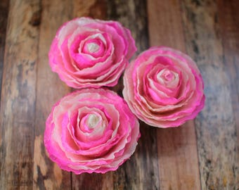 Pink White Fossilized Ranunculus Flowers - One Dozen- for Weddings, Home Decorations, Scrapbooking and Floral Arrangements