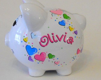 Personalized Piggy Bank Hearts Bright Pastels