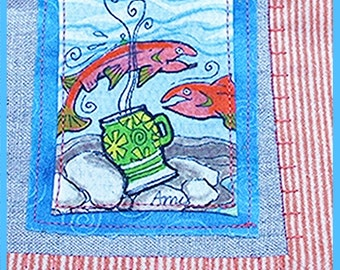 AMY: Hand painted linen/cotton napkin of Salmon. Table-runner, gift basket, bread basket. One of a kind. Handmade. Original art.