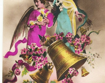 Vintage French Postcard Angels 1958 Calendar Merry Christmas Happy New Year, Color Tinted Photo Postcard Angels, Paper Ephemera