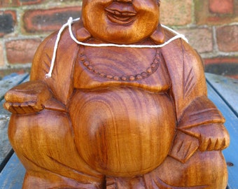 Wooden Happy BUDDHA STATUE Figure 20 cm CHINESE Laughing Sitting Hand Carved C