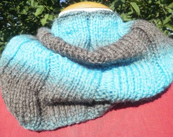 Snood in shades of turquoise and Brown Choker, knitted with 7/3 sides