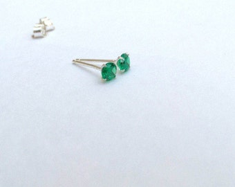 Emerald earrings, emerald studs, 925 Sterling silver emerald earrings, emerald silver studs, dainty earrings, emerald jewellery