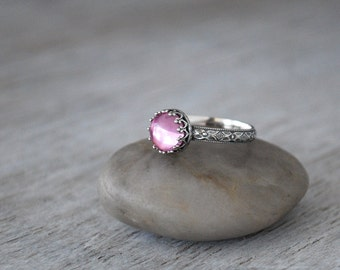 Pink Sapphire Ring - Sterling Silver Band - Handcrafted Artisan Silver Ring  - Sterling Silver Sapphire Ring -  October Birthstone