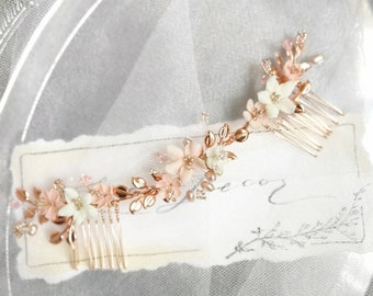 Flower Hair Comb Bridal Hair Comb Boho Chic Rose Gold Bridal Headpiece Woman Gift Bridesmaid Beaded Wedding Hair Jewelry Bridal Hair Piece