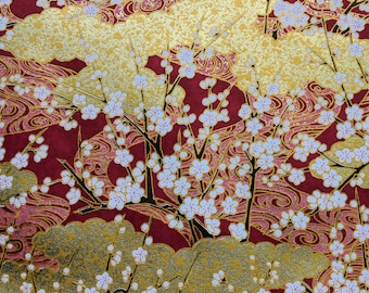 Japanese Yuzen (Chiyogami) Paper - 6x6in, 8.5x11in, 18x12in, 18x24in - White Cherry Blossom Branches on Gold & Maroon Red - #697