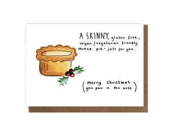 Funny Christmas  Vegan card- Vegan Christmas card - Funny veggie Xmas  card - Rude card - Vegan gift -