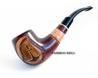 """Pipe Handcrafted, Hard carved Pipe Wooden pipe Tobacco Pipe Best Smoking Pipe/Pipes, Wood Pipes """"ANCHOR INLAID"""", BEST Offer......Plus Gift"""
