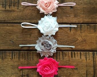 Girl 4 pack Headband Starter Kit, Girly Girl Set in White, Grey, Light and Hot pink, Little Girl Hair Accessories
