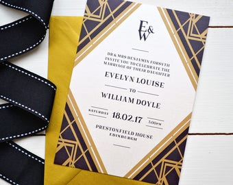Art Deco Gatsby 1920s Wedding Invitations