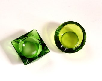 vintage mid century modern glass ashtrays - cubist square & orb round green, possibly Viking and Anchor Hocking