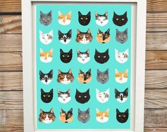 All The Cats | A3 Digital Cat Print