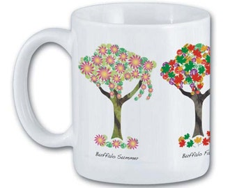Buffalo Art Prints  - Four Season Buffalo Tree Mug