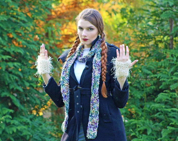 Gloves & Scarf  Set Soft Purple Green Beige Fuzzy Fingerless Warm Winter Accessory Girl Teens Women Handmade Christmas Gift Ready to ship