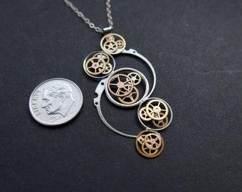 "Clockwork Pendant ""Encke"" Recycled Mechanical Watch Gears Necklace Elegant Sci Fi Steampunk Mechanical Mind Birthday Wedding Gift"