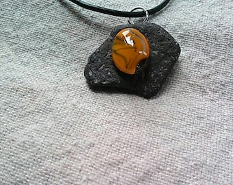 Fused glass necklace on vintage ocean stone-pacific.