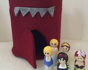 Felt Princess Castle Peg Doll Set