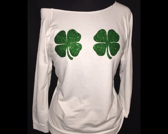 St Patrick's Day shirt, two shamrocks, St Patrick's off shoulder, #38
