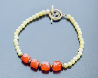Orange Sunrise Bracelet - Orange Beads, Carnelian Gemstones, Olive New Jade, Antique Gold, Orange Jewelry, Vibrant Colors, Square Beads