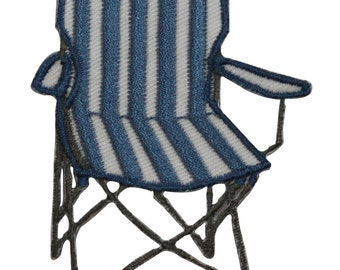 ID #7764 Blue Striped Outdoor Folding Chair Iron On Embroidered Patch Applique