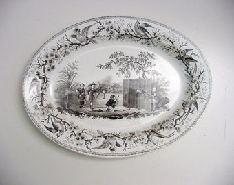 antique Boch platter, transfer decoration 'Aux Chinois""