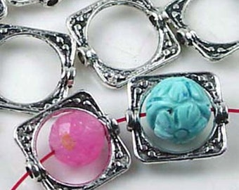 20 Silver Pewter Square Frame Beads 15mm (p119)