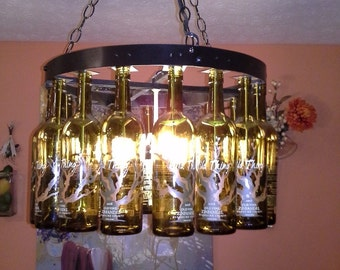 Bottle chandelier etsy wine bottle chandelier aloadofball Gallery