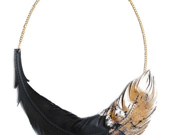 Black Feather Necklace, Gold Dipped Leather Feather jewelry, Artistic Statement Fringe Necklace