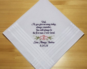 Wedding Handkerchief Embroidered to Father of Bride Personalized / Monogrammed Custom( #6261.1)