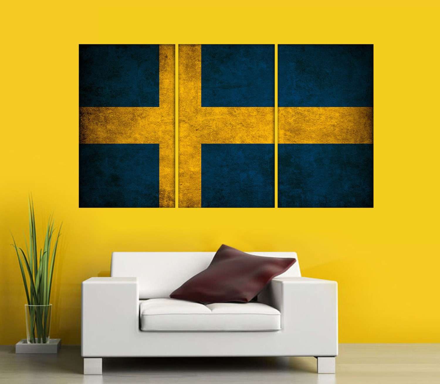 Swedish Flag Canvas art Print 3 Panel Split World