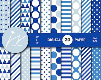 Royal blue digital paper, Blue scrapbooking, Blue paper, Blue backgrounds, Blue pattern, Blue polka dots, MI-682