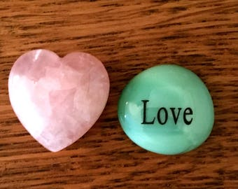 """Rose Quartz HEART and Glass LOVE Token..Engraved with word """"LOVE""""-Comes wrapped in a  Red Cardboard Box-Anniversary-Birthday-Mothers Day"""