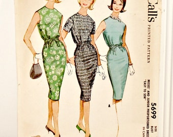 Vintage McCall's Printed Pattern 5699 (c.1960) for Misses' and Juniors, Size 18, Easy to Sew, Young Fashion, Proportioned Dress, Retro Dress
